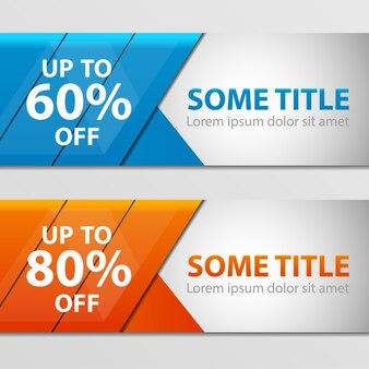 Super sale banner taped -60%, -80% discount. blue, orange