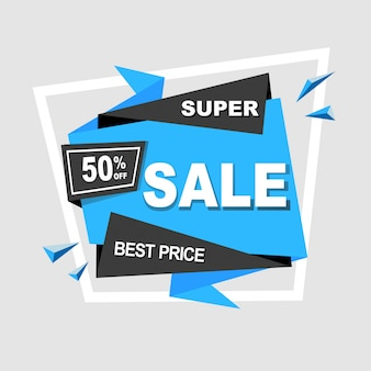 Super sale banner template, best price offer discount