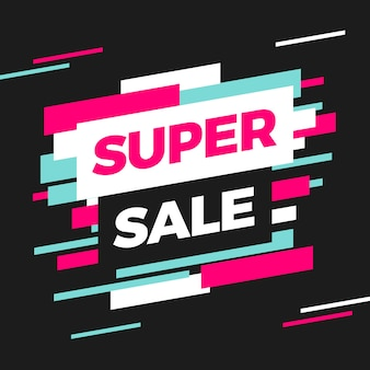 Super sale banner template design in glitch style