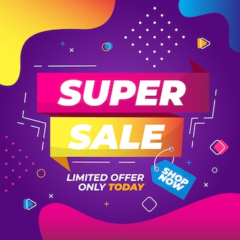 Super sale banner template design for media promotions and social media promo