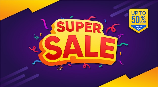Super sale banner template , special offer and discount up to 50% template