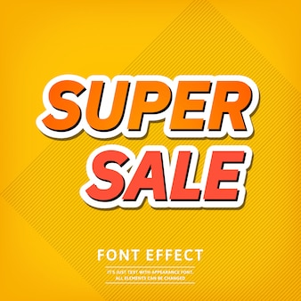 Super sale banner template text effect. bright background