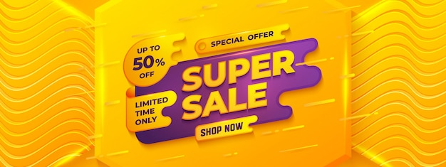 Super sale banner template with orange, yellow, and purple color.