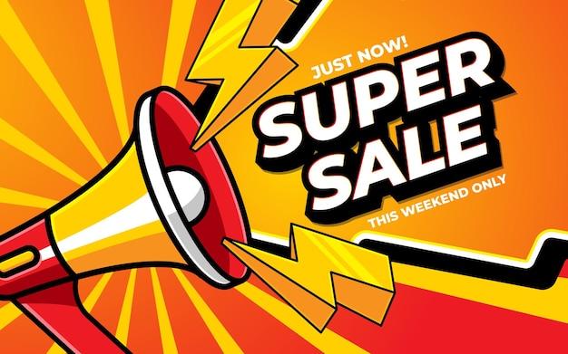 미디어 프로모션을 위한 슈퍼 판매 배너 템플릿 디자인