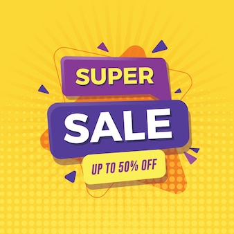 Super sale banner up to 50% off