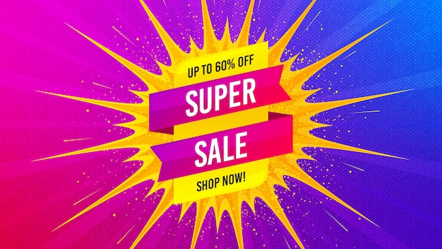 Super sale banner for web. special offer background.