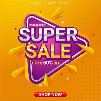 Banner super vendita con forme astratte
