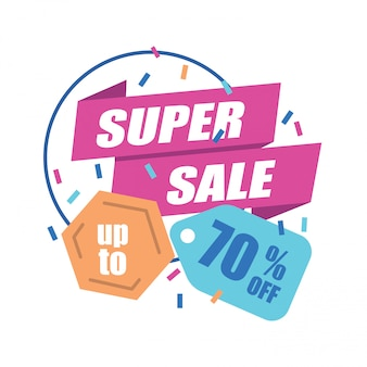 Super sale banner with discount tag