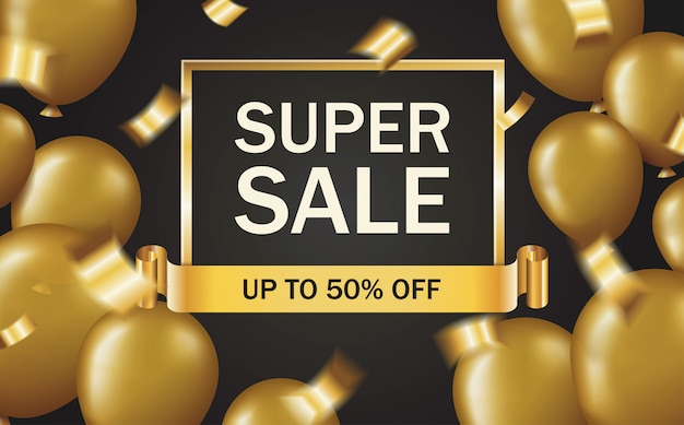 Super sale banner with golden air balloons and confetti. template offer sale in gold frame and ribbon on black background