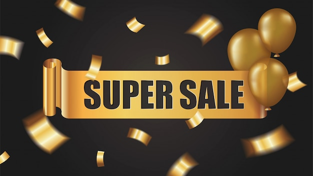 Super sale banner with golden ribbon roll, confetti and balloons on black background