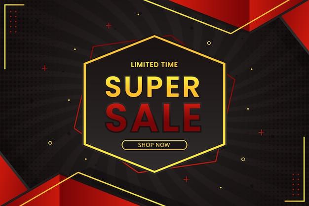 Супер распродажа баннер с гексагональным абстрактным градиентным фоном