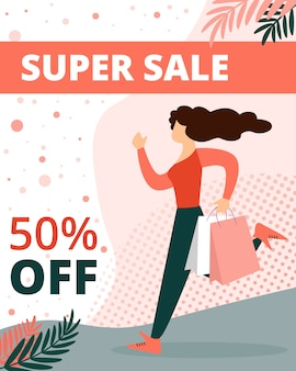 Super sale banner with woman in casual dress
