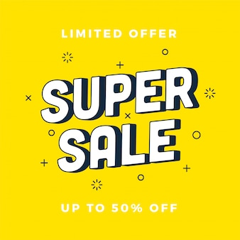 Super sale banner. yellow discount banner. vector illustration