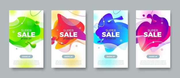 Super sale banners. background with abstract multicolored fluid shape. promo design up to 50% off. vector illustration.