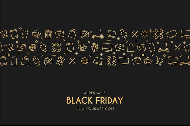 Super vendita black friday banner con icone del negozio
