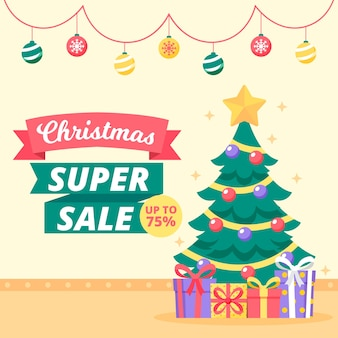 Super sale christmas in flat design