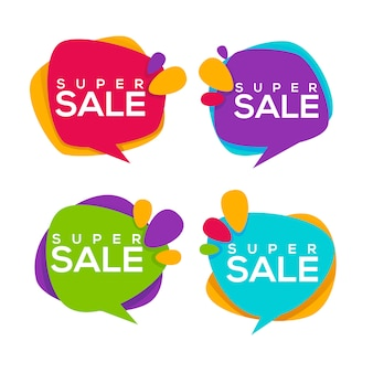 Super  sale,  collection of bright discount bubble tags, banners and stickers