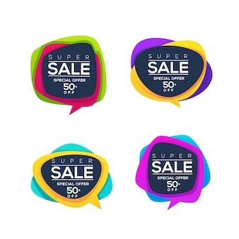 Супер распродажа, коллекция ярких скидочных пузырей, баннеров и наклеек