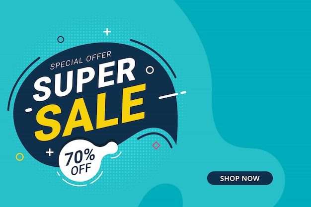 Super sale discount banner template promotion design for business