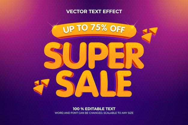 Супер распродажа редактируемый текстовый эффект 3d с фиолетовым цветом фона