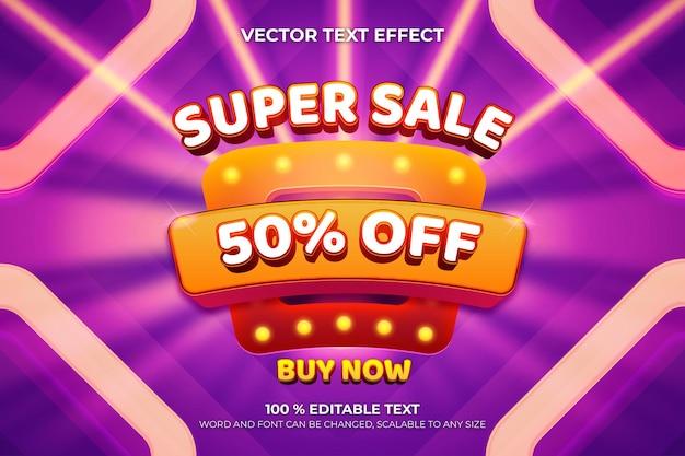 Super sale editable 3d text effect with square shape purple color background