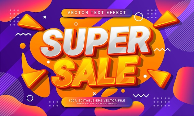 Super sale editable text style effect themed sales promotion