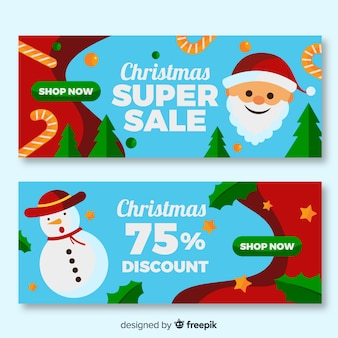 Super sale flat design christmas banners