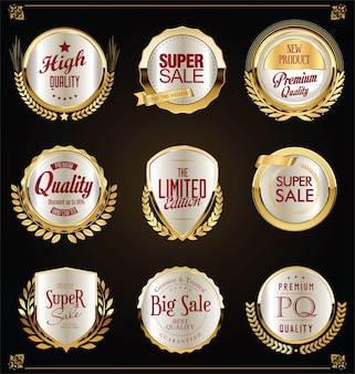 Super sale golden retro badges and labels