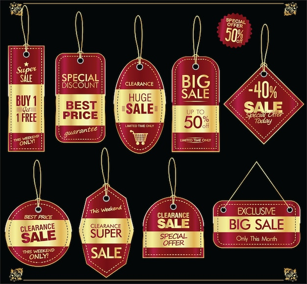 Super sale golden retro price tag set