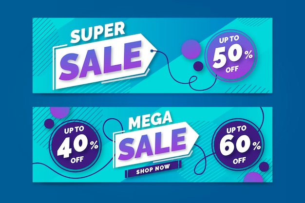 Super sale  gradient banners design
