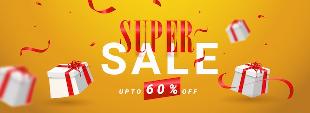 Super sale header or banner design Premium Vector