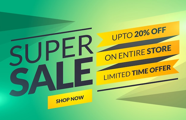 Super sale horizontal banner or voucher card template