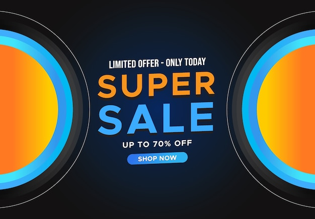 Super sale horizontal banner with limited offer