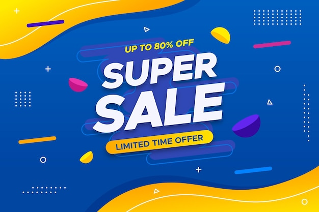 Super sale horizontal banner with offer