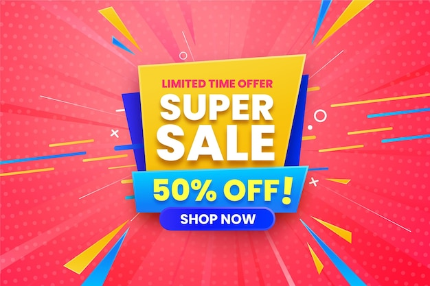 Super sale horizontal banner
