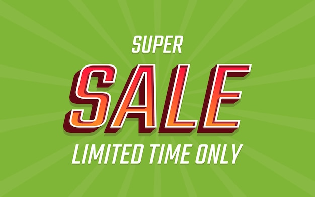 Super sale label 3d text in green color