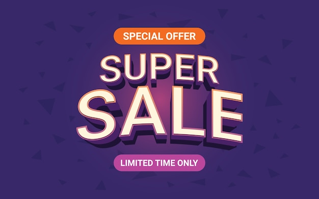 Super sale label 3d text in neon light color effect