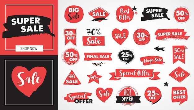 Super sale labels, modern hand drawn stickers and tags template design Premium Vector