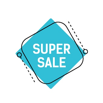 Super sale lettering on blue rhomb