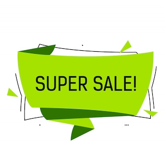 Super sale lettering in green origami speech bubble with triangles