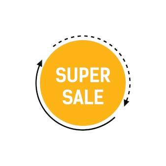 Super sale lettering on yellow circle