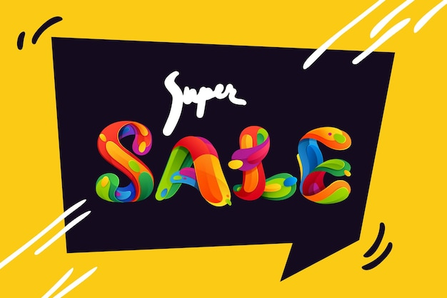 Super sale lettering for your black friday poster, flyers, and other advertising.
