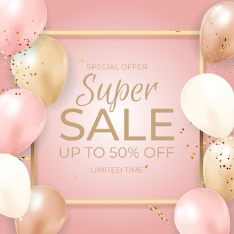 Баннер super sale limited time с воздушными шарами, золотой рамкой, лентой и конфетти.