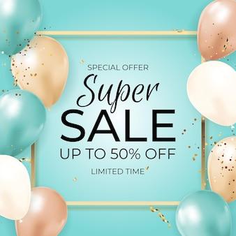 Баннер super sale limited time с воздушными шарами, золотой рамкой, лентой и конфетти