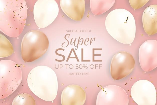 Баннер super sale limited time с воздушными шарами, золотой лентой и конфетти.