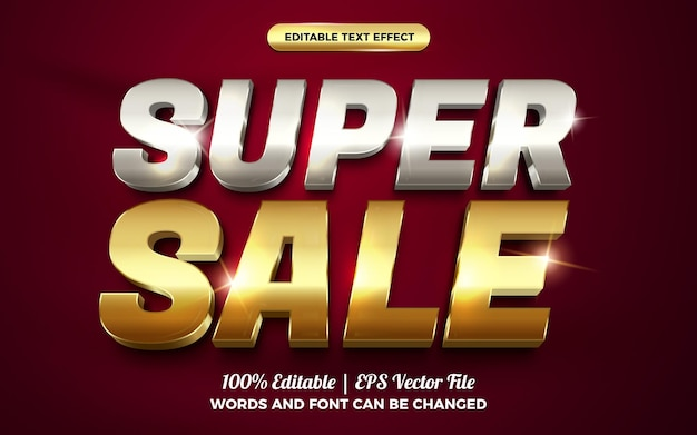 Super sale luxury silver gold editable text effect
