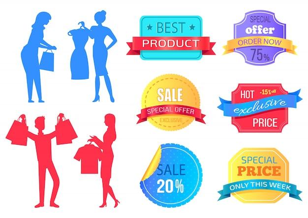 Super sale, mega discount people shopping bag