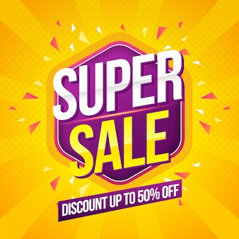 Super sale modern banner  template on yellow