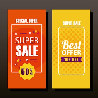 Super sale and offer in banners design, shopping and discount theme  illustration