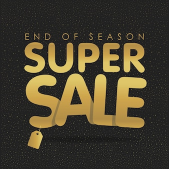 Super sale offer poster banner vector illustration. golden text letters with tag.